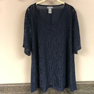 Maggie Barnes navy blue sheer lace shirt 2x 22/24
